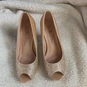 De Blossom Collection Gold Crystal Open Toe Heels
